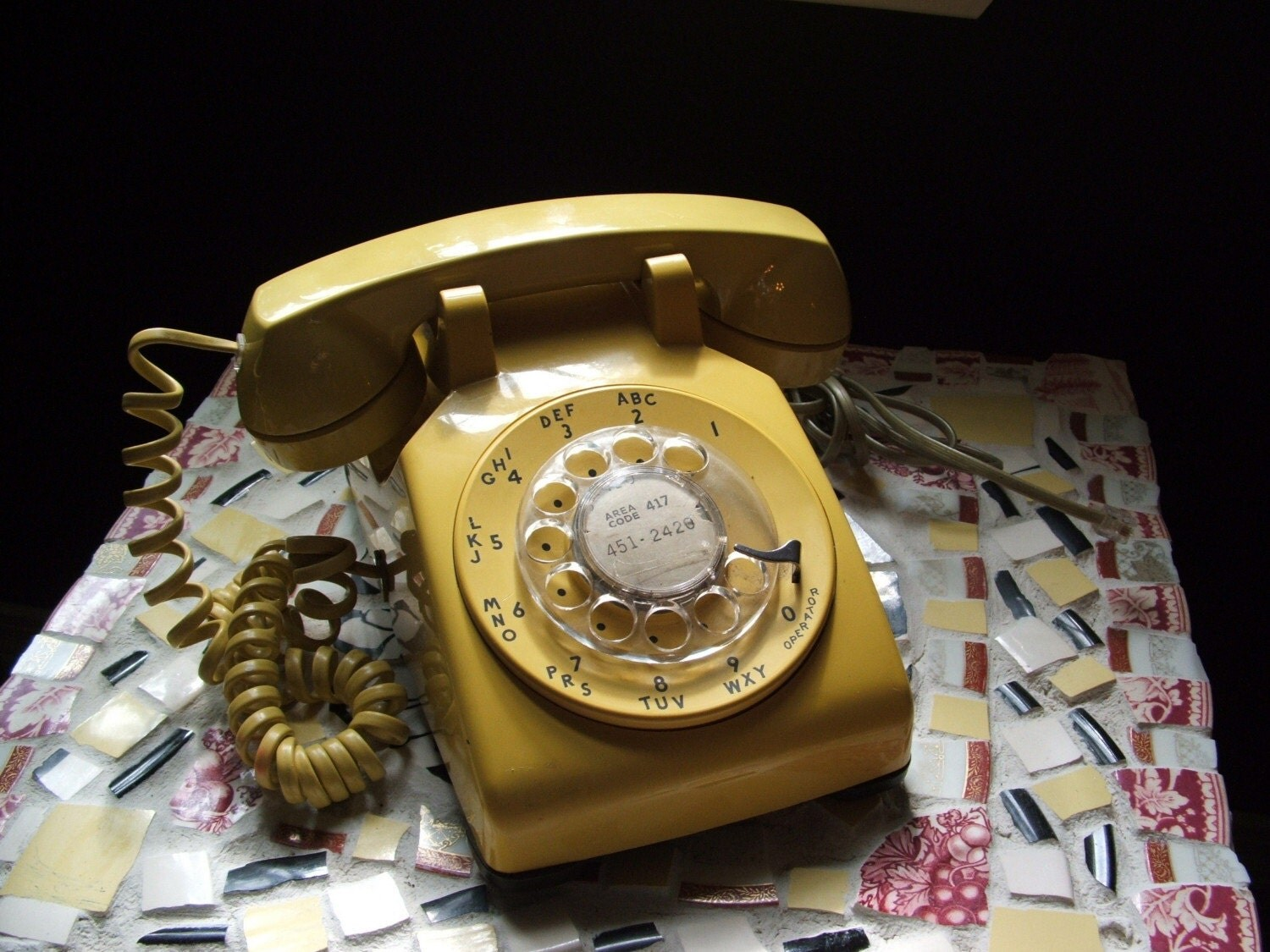 Vintage Sunshiny Yellow Rotary Phone Western Electric ON SALE