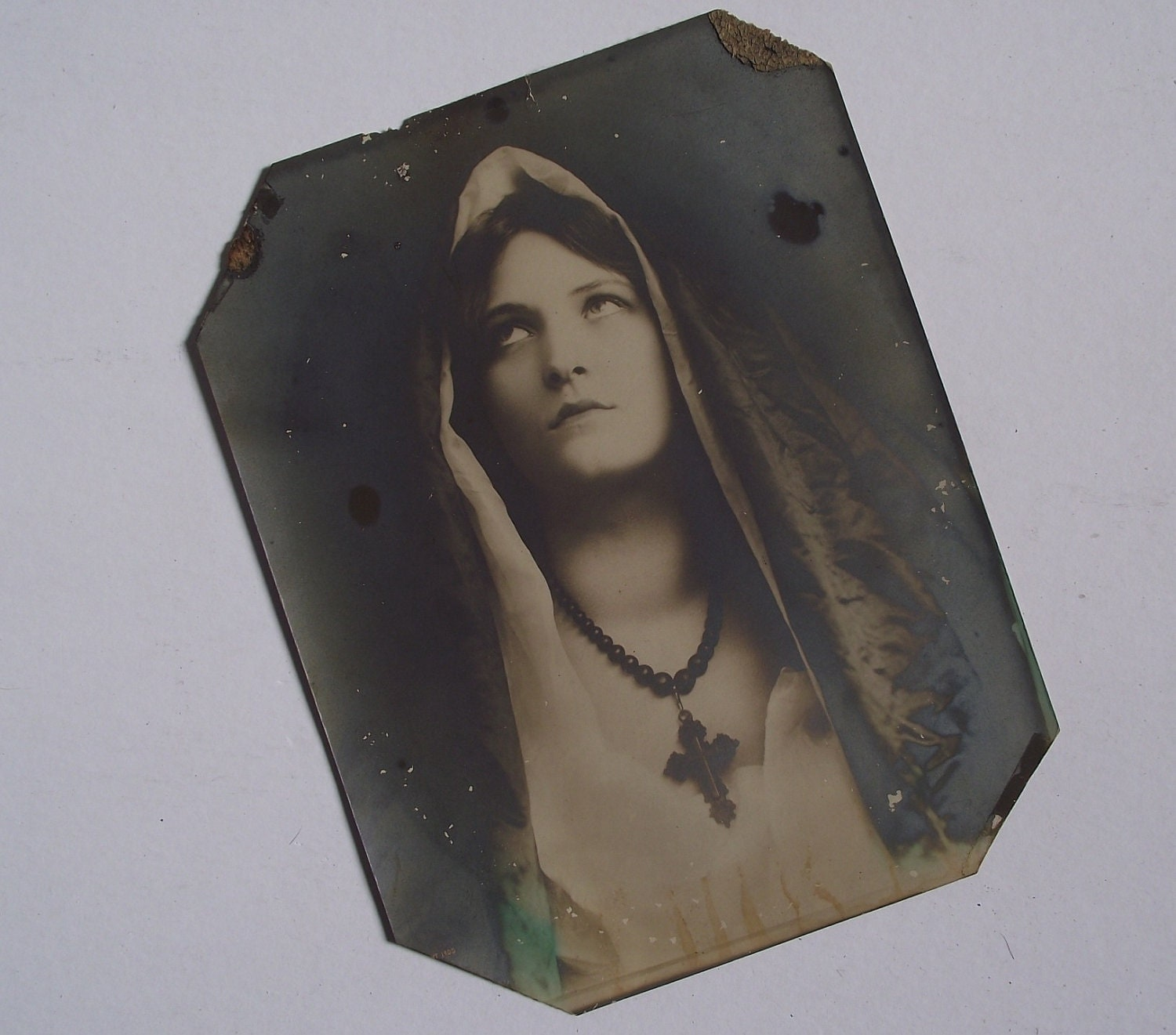 Framed Victorian Print Virgin Mary Black And White
