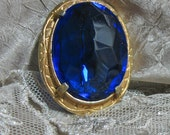 Vintage Crystal Brooch Royal Blue Gold    RESERVED