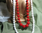 Vintage Red and White Beaded Necklace Pair