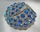 Vintage Blue Aurora Borealis Rhinestone Brooch Signed