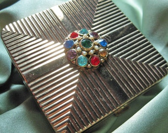 Vintage Rhinestone Compact Bejeweled to Dazzle