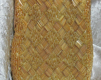 Vintage Gold Evening Purse Glass Beads