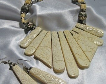 Vintage Silver Necklace Earring Set With Carved Bone