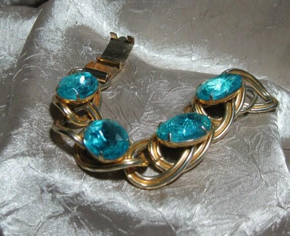 Vintage Chunky Rhinestone Link Bracelet