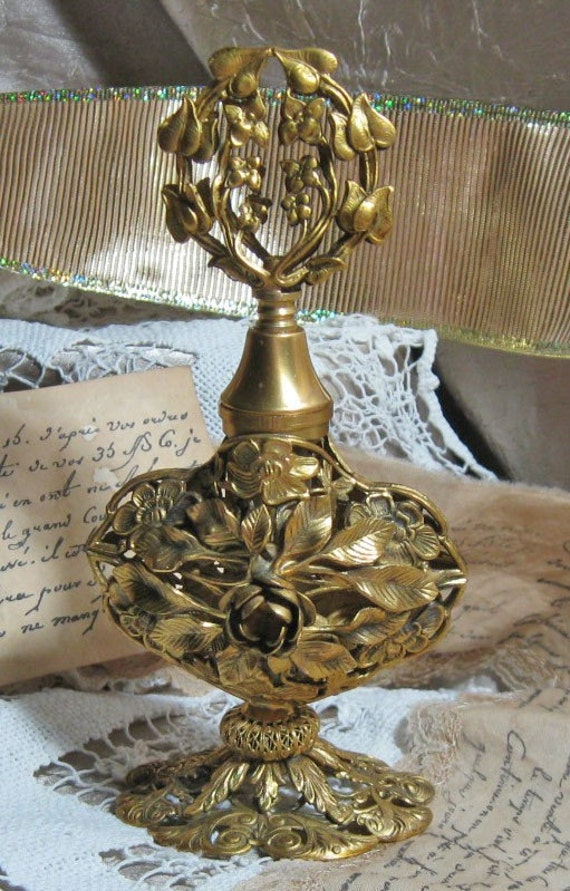 Vintage Ormolu Gold Gilt Perfume Bottle