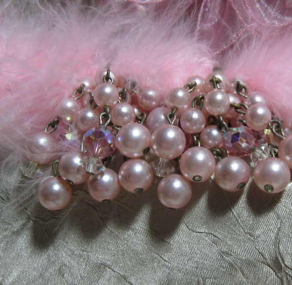 Vintage Pink Beads and Crystal Cha Cha Earrings