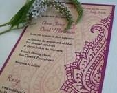 Indian wedding invitations, Henna invitation, Mehndi invitation, dark plum wedding, floral paisley invitation, spring wedding