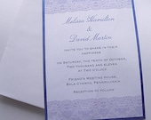 Vintage style lace cotton fabric wedding invitation sample