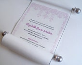 Christening invitation scroll, with cross and flowers design