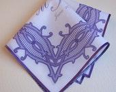 Wedding hankerchief, purple wedding favor, printed lace handkerchief, monogram gift