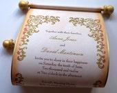 Gold wedding invitation scroll, rustic wedding invitations, SAMPLE