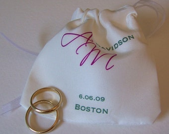 Silk wedding ring pouch with personalized monogram for bride and groom
