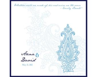 Wedding Handkerchief, Personalized Hankerchief, Vintage Paisley, Custom Monogram, Mother Of Bride Wedding Gift, Something Blue Bridal Hankie