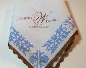 Mother Of The Bride Handkerchief, Monogram Hankerchief, Art Deco