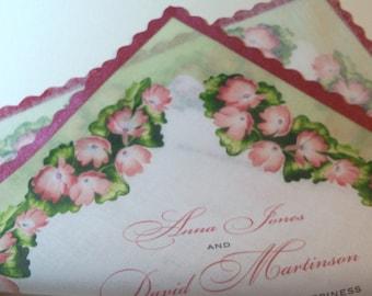 Boho Wedding Invitation Handkerchiefs with pink blush blooms, rose gold handpainted edge, set of 10