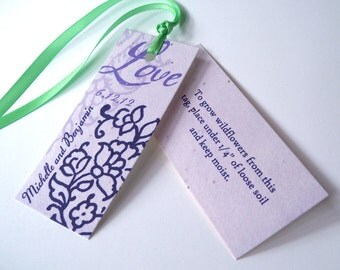 Plantable wedding favor tags vintage style paisley, set of 150