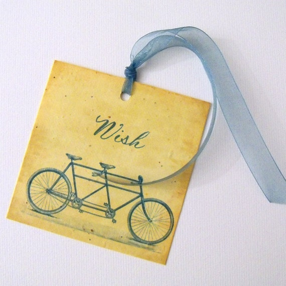 Wedding wish tags with tandem bicycle on plantable seeded paper - 25