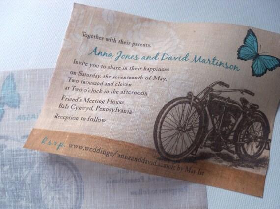 Fabric Wedding Invitations: Motorcycle Wedding Invitations Wedding Invites By