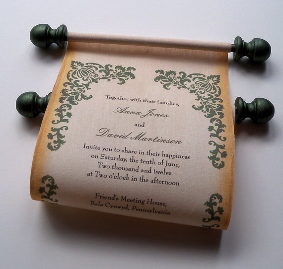 Rustic Scroll: Rustic Fall Wedding Invitation Scroll Burlap And Olive Green