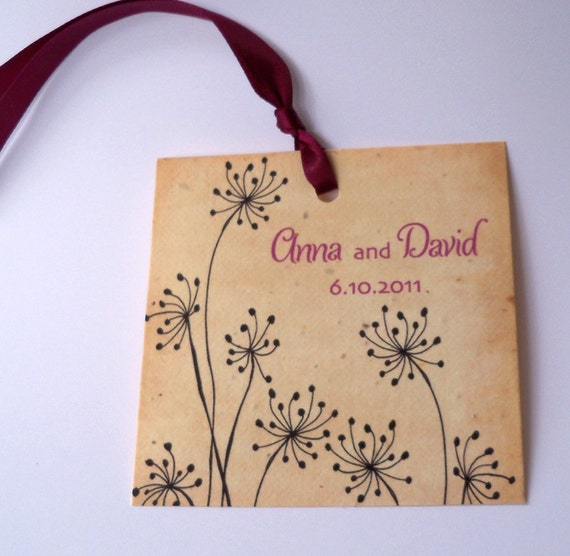 Wedding wish tags plantable paper with dandelions, set of 25