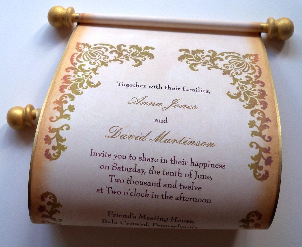 scroll invitations wedding invitations elegant by artfulbeginnings