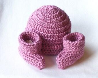 OBE Crocheted Newborn Plum Wine Beanie Hat and Booties Set
