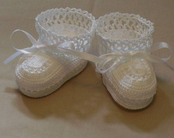 WhiteThead Crochet Baby Booties Size 0- 3 Months
