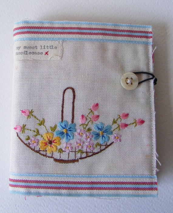 Handmade NEEDLECASE sweet little embroidered thing