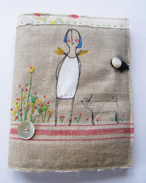 Handmade screen printed Needlecase Hand embroidered flower garden Somewhere over the rainbow