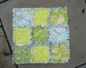 Mini Rag Quilt Lovey in Happy Blue and Cheery Green