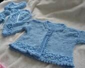 spun sugar/baby boy blue knit sweater