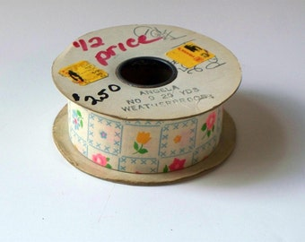 Vintage Cotton Ribbon • Flower Print Ribbon • Partial Unused Roll of Ribbon