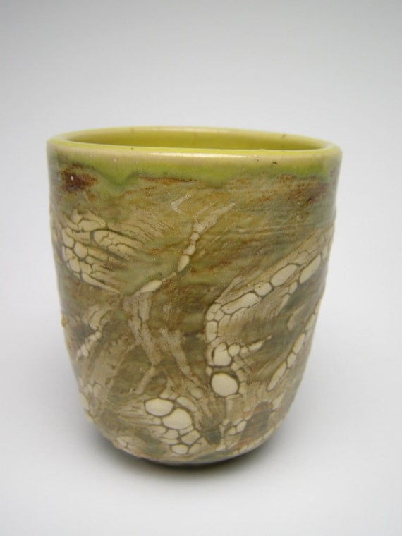 yunomi / tumbler/ cup /glass //whiskey glass yellow green rust off white contemporary ceramic pottery fall colors B-1 C6   Free Shipping