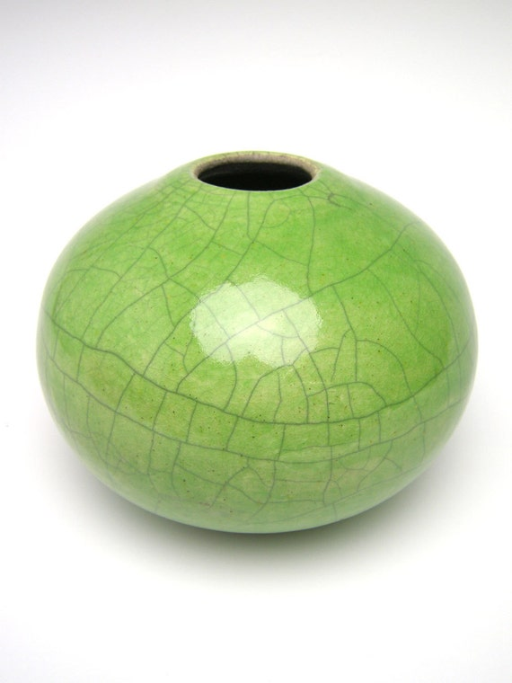 Vase Raku  pottery vase ceramic green crackle vase  contemporary modern ceramics v-3 Free Shipping