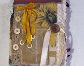 Handmade Fabric Collage Journal - Fabric and Paper Journal - Blank Journal - Art Journal - Nature Themed Journal