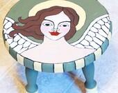 One of  a Kind Original Folk Art Angel Painting on Wood Stool