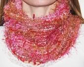 OOAK Pink Multi Colored Art Yarn Neck Warmer