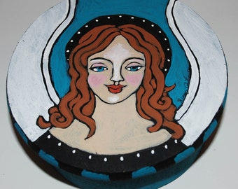 Original Folk Art Painting Angel Trinket Box
