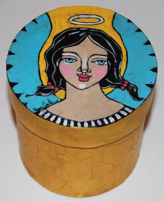 Original Hand Painted Folk Art Trinket Box