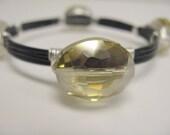 Crystal Wire Wrapped Bangle Bracelet