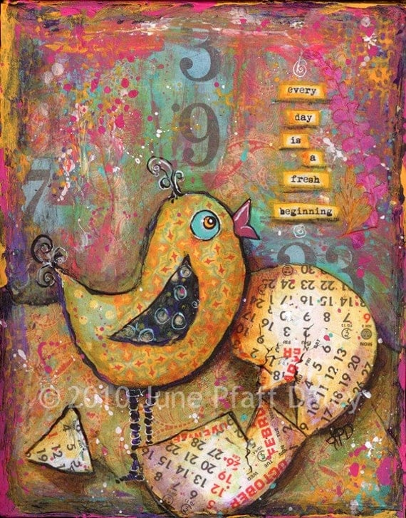 A New Day 8 x 10 mixed media print by June Pfaff Daley