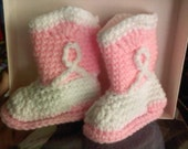 Pink and White Cowboy Booties