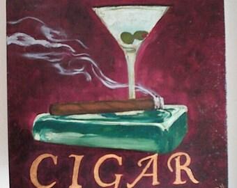 Cigar Painting 12x12 Oil Martini Olive Burgandy Crimson Red 2006 Smoking