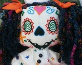 RESERVED for potterycrazedgal Estrella Day of the Dead Doll (Hand Embroidered)