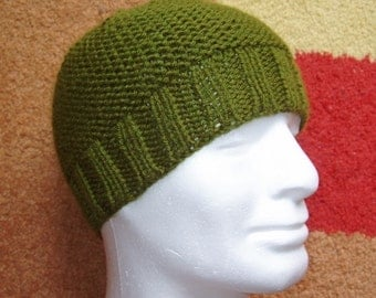 KNITTING PATTERN/BEAU Mans Beanie Pattern/Easy Knit Straight/Aran Worsted Garter+ Rib Stitch/Mans Hat