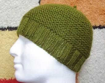 KNITTING PATTERN/BEAU Mans Beanie Pattern/Easy Knit Straight/Aran Worsted Garter+ Rib Stitch/Mans Hat