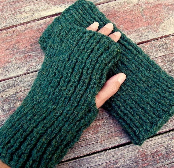 KNITTING PATTERN/DARA  Chunky Ribbed Fingerless Gloves for Men/Women Easy/Quick Knit/ Last Minute Gift/ Mans Gloves/Teens Glove/Simple Glove