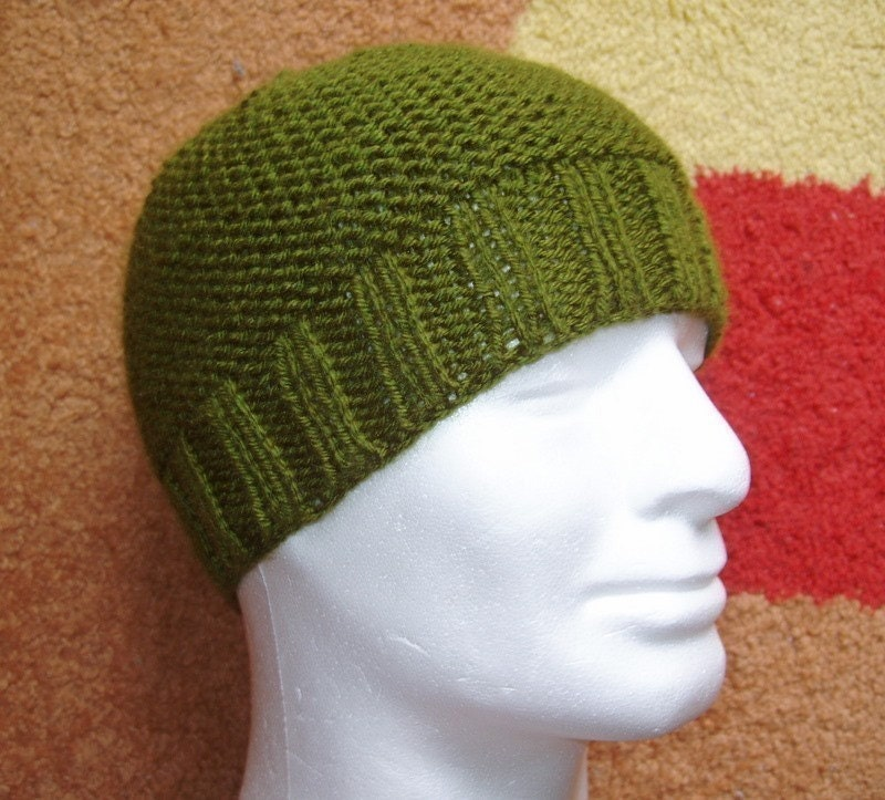 Pattern For Infinity Scarf Knit : KNITTING PATTERN/BEAU Mans Beanie Pattern/Easy Knit