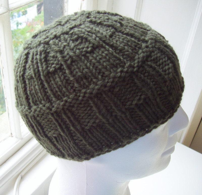 KNITTING PATTERN/FARMERS Mans Beanie Hat Pattern/Knit Round/